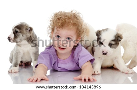 baby boy with puppy dog. isolated on white background