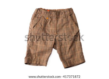 baby brown shorts isolated on white background - stock photo
