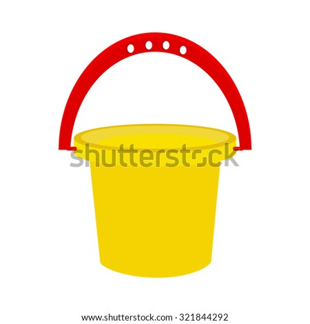 Baby bucket, yellow bucket, kids bucket isolated, toy
