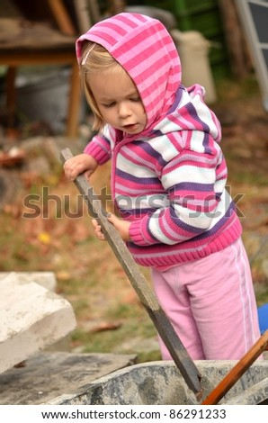 baby building house - stock photo