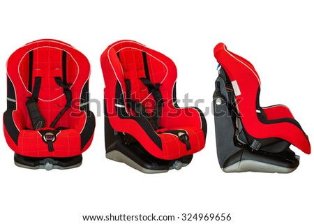 Baby car seat isolated on white background - stock photo