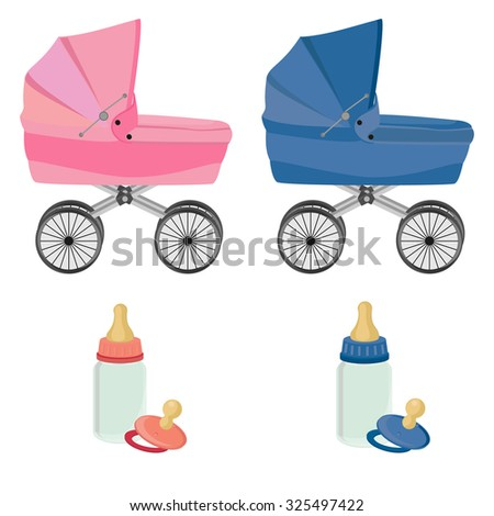 Baby care set,baby carriage, feeding bottle and pacifier, collection, isolated on white - stock photo