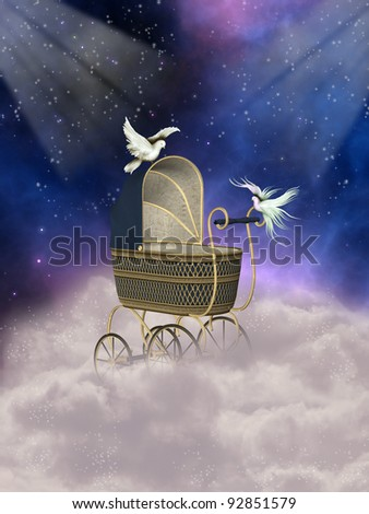 baby carriage in fantasy landscape with doves - stock photo