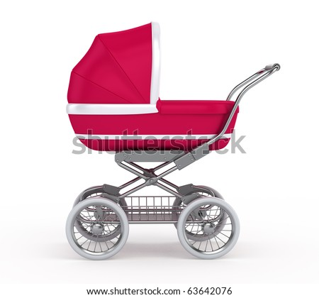 Baby Carriage on white background - stock photo