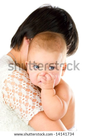 Baby chewing finger holded by mother isolated on white