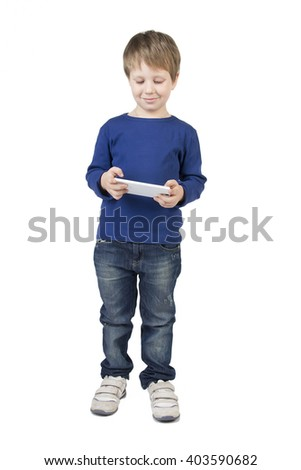 Baby, child boy call, talking, plays on tablet, cell phone, mobile phone isolated on white background. Background, branding, mock up - stock photo