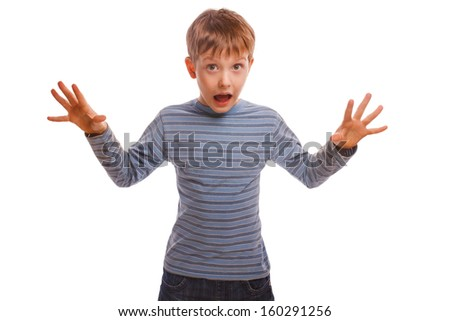 baby child  threat boy waves opened his mouth fright fear depression in striped sweater isolated on a white background
