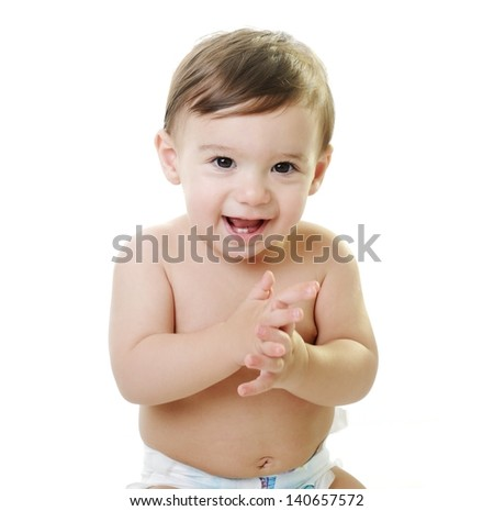 Baby child with various funny poses and hands gestures isolated on white with copy space - stock photo
