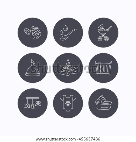 Baby clothes, bath and hat icons. Pram carriage, spoon with drops linear signs. Socks, baby toys and bubbles flat line icons. Flat icons in circle buttons on white background.  - stock photo