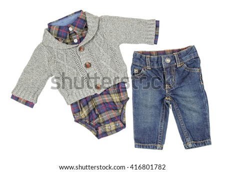 Baby clothes isolated on white background.