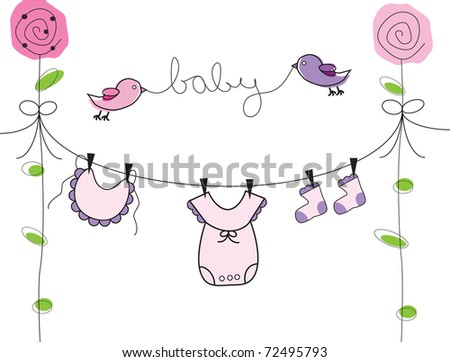 Baby Clothes Line - stock photo