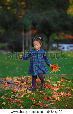 Baby collecting Autumn leaves plaid shirt evening