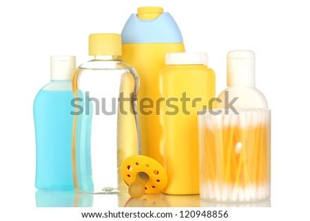 Baby cosmetics isolated on white - stock photo