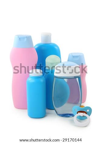 Baby cosmetics isolated on white background - stock photo