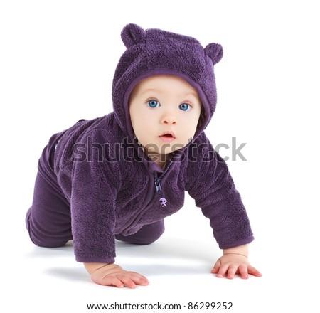 Baby crawling, isolated on white background - stock photo