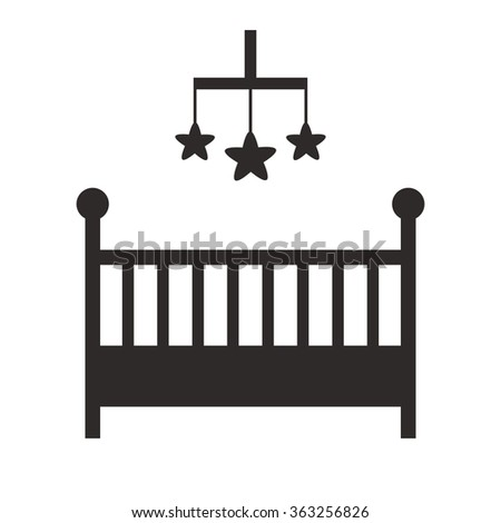 Baby crib isolated black silhouette icon on white background. Cot isolated icon. Child room and nursery furniture. Flat style illustration.  - stock photo