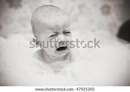 Baby crying - stock photo