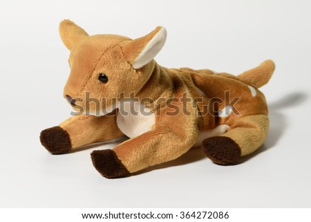 Baby deer doll on white background