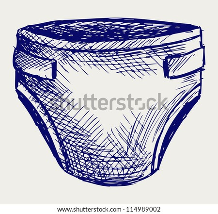 Baby diapers. Doodle style. Raster version - stock photo