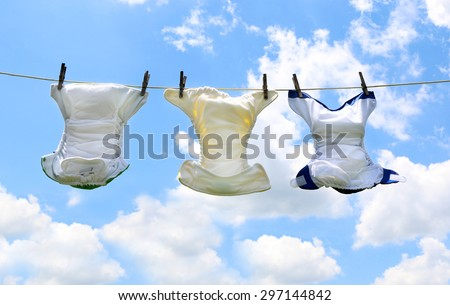 Baby Diapers on a Line