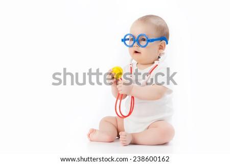 baby - doctor - stock photo