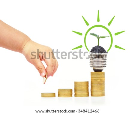 baby doing green energy saving / Green saving concept for wealth and environment