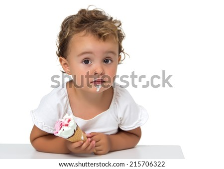 Baby eating an ice cream isolated on white - stock photo