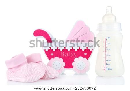 Baby equipment isolated on white - stock photo