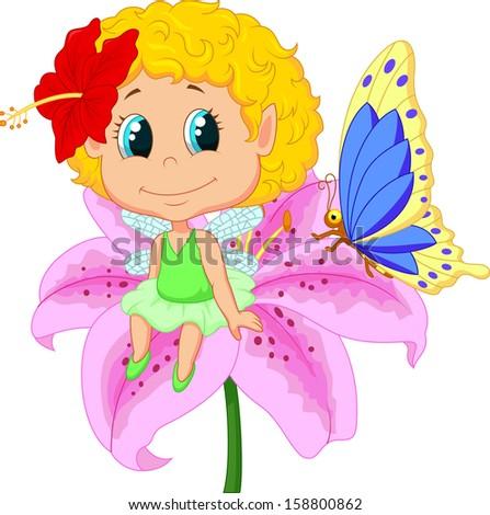 Baby fairy elf sitting on flower - stock photo