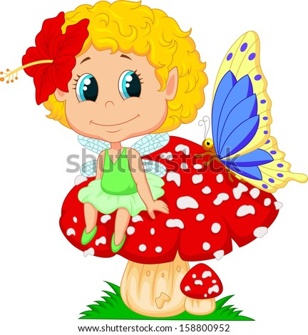 Baby fairy elf sitting on mushroom - stock photo