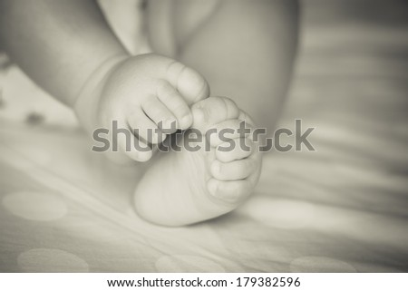 Baby feet (Black and white) - stock photo