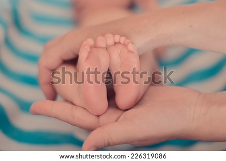 Baby feet in mother hands. - stock photo