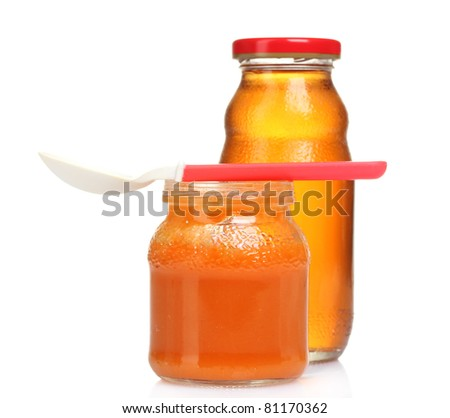 baby food and juice isolated on white - stock photo