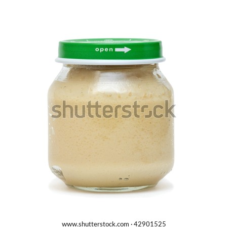 Baby food in glass can. Isolated on white.