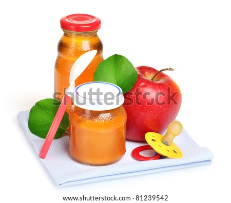 baby food, juice and fruits isolated on white