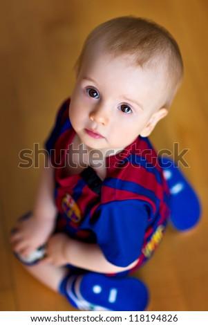 baby footballer - stock photo