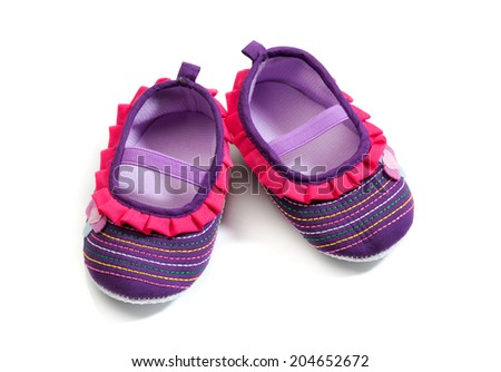 Baby footwear isolated white background.  - stock photo