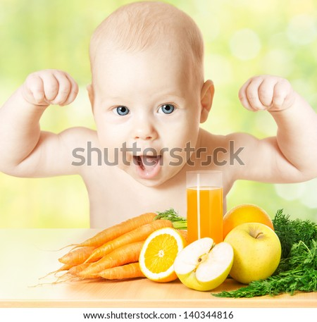Baby fresh fruit meal and juice glass. Concept: healthy vitamin vegetable food diet make Kid strong and happy - stock photo