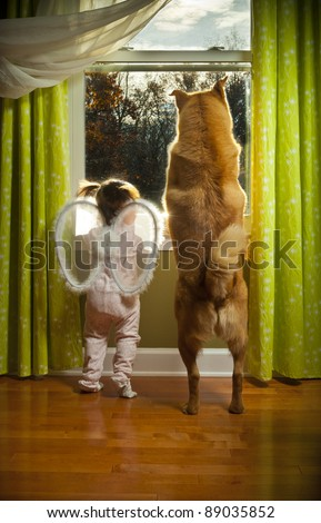 Baby girl and dog watching outside the window - stock photo