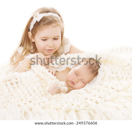 Baby Girl and Newborn Boy, Sister Little Child and Sleeping Brother New Born Kid, Birthday in Family, Love Concept - stock photo