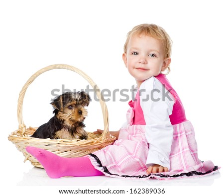 Baby Girl and Yorkshire Terrier puppy. isolated on white background - stock photo