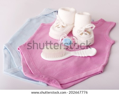 Baby girl colorful clothes with baby boots  Set - stock photo