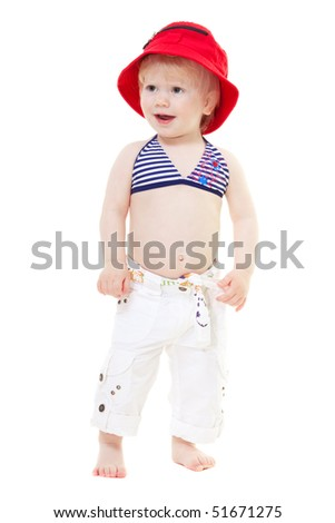 Baby girl in a bathing suit and red panama  isolated on white