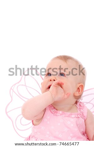 baby girl in pink fairy dress isolated on white background is looking up - stock photo