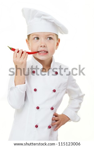 Baby girl in the cook hat - stock photo