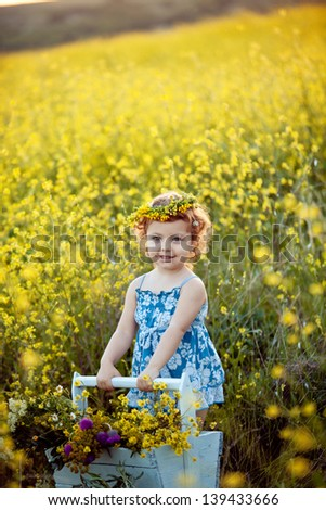 Baby girl in wreath smiling in field - stock photo