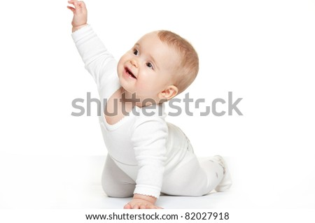 Baby girl isolated on white background - stock photo
