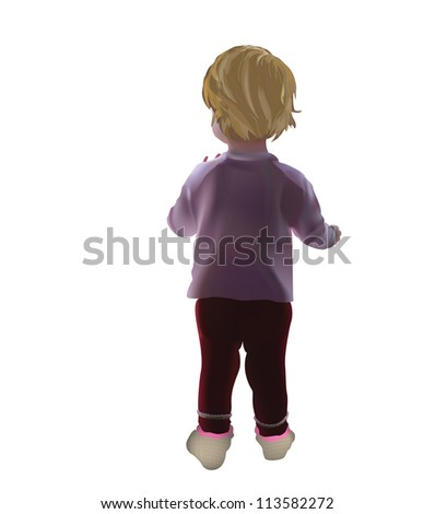 Baby girl isolated standing with her back