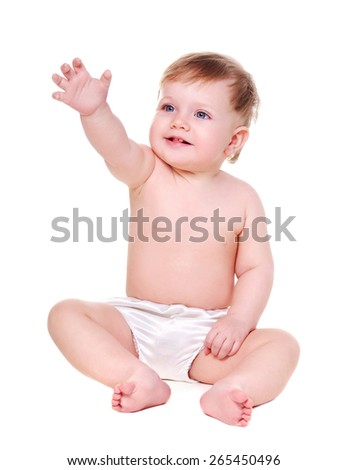 baby girl making gesture with her hand - stock photo