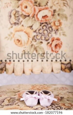 Baby girl pink shoes - stock photo